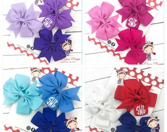 Set of 3 Monogrammed Hairbows * Personalized * FREE SHIPPING