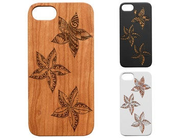 Iphone 7 8 X 11 12 Pro Max Cute Stitch Hawaii Designs Renewable Natural Eco Friendly BambooRosewood Engraved Phone Case