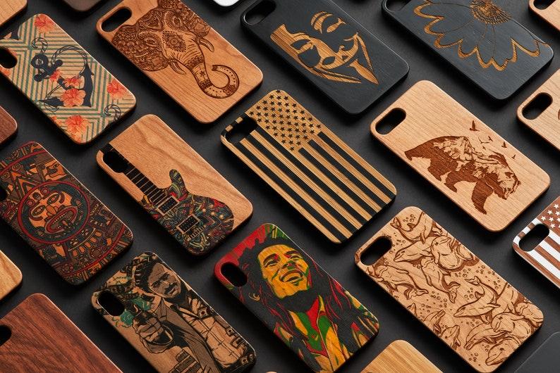 SE Samsung S20 Ultra 7+ Note 8 8+ 6+ 20 iPhone 12 Mini Xr Wood Case Xs Cat Face 11 Pro Max S9 + 9 FE S8 UV 10+ X