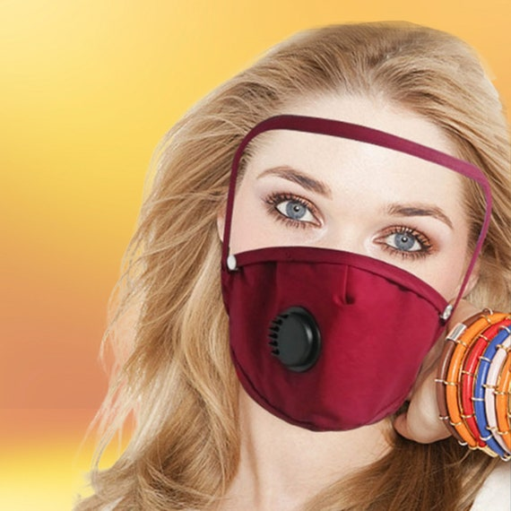 Reusable Washable Cloth Face Mask w/ Air Port and Removable Eye Shield Cover + PM2.5 Filter