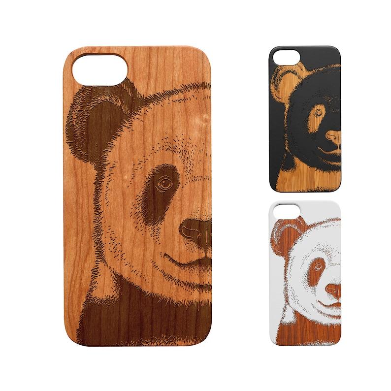 17. iPhone & Samsung Phone Wooden Case, Panda Print