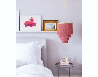 Fringe Light *D U S T Y   R O S E* Lampshade in Dusky Rose Pink and Brass Largest Size