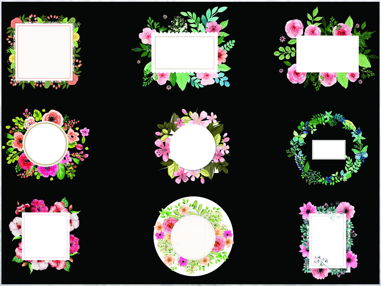 Aquarell Blumen Rahmen Clipart/Hochzeit Frames/SVG PNG EPS | Etsy