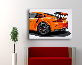 Porsche 911 GT3 RS Handmade Oil Painting Art