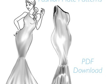 Sewing Pattern PDF. Mermaid Dress. Multi-sized from XS to XXL. Evening, prom dress