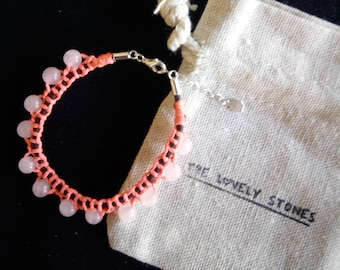 Centipedes. Bracelet with Rose Quartz.