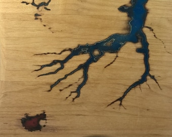 Wooden serving board serving plate, Alder wood robust solid glows in the Dark series Thunder