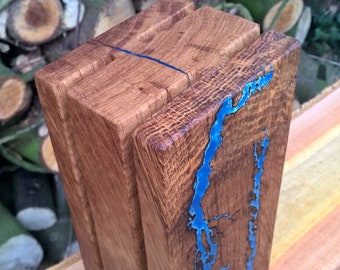 Knife block solid wood, old oak, for four knives with glowing ornaments in the Dark series Thunder