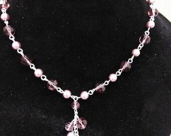 """purple wire """"y"""" necklace"""