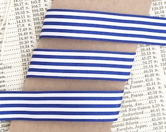 16mm Royal Blue and White Nautical Stripe Ribbon Per Metre or FULL ROLL