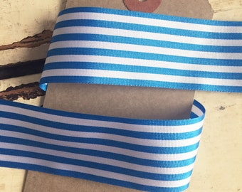 25mm Mid Blue and White Nautical Stripe Ribbon Per Metre or FULL ROLL