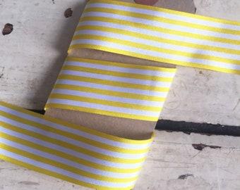 25mm Yellow and White Nautical Stripe Ribbon Per Metre or FULL ROLL