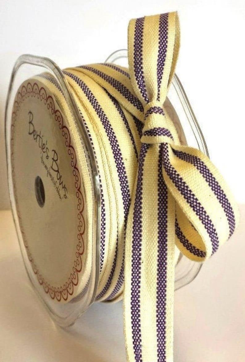 FREE UK POSTAGE! 16mm Rustic Vintage Style Purple /& Cream Woven Cotton Ticking Stripe Ribbon Choose 1m to Full 20m Roll
