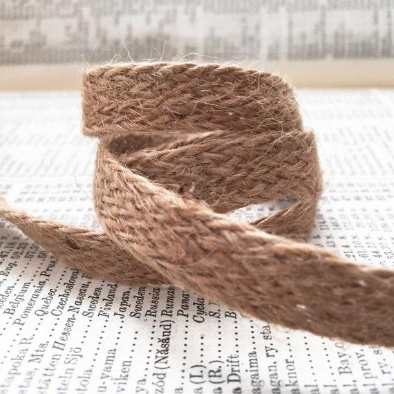 2 metres x 10mm Natural Woven Rustic Jute Burlap Hessian Tape Ribbon Trim Braid