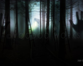 TRAPT: dark | scary | print | woods | shadow | trapped | decor | wall art | night | surreal | emotional