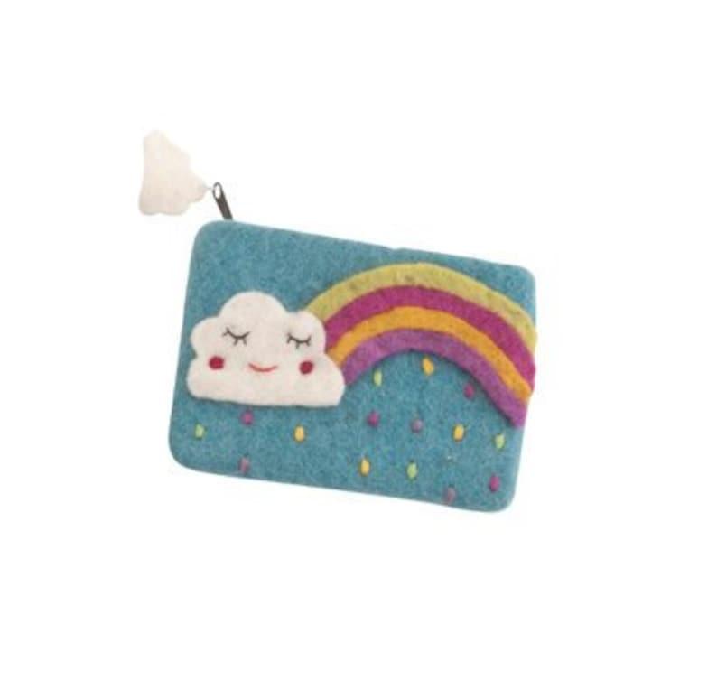 felt purse purse for girls handmade purse Rainbow and cloud purse eco purse girls accessories kids handmade kids