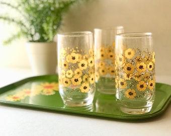 Vintage, Retro, Floral Tumblers, Juice glasses (set of 3)