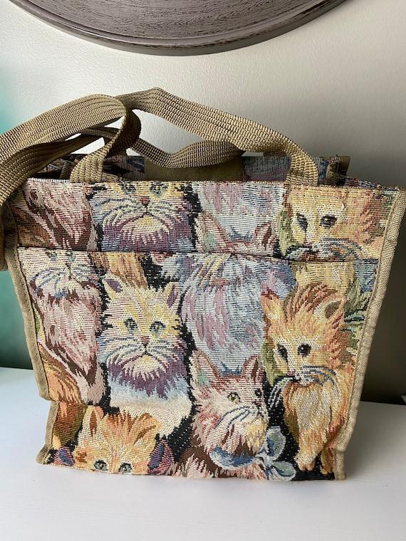 Vintage Tapestry Cat Tote Bag - image 1