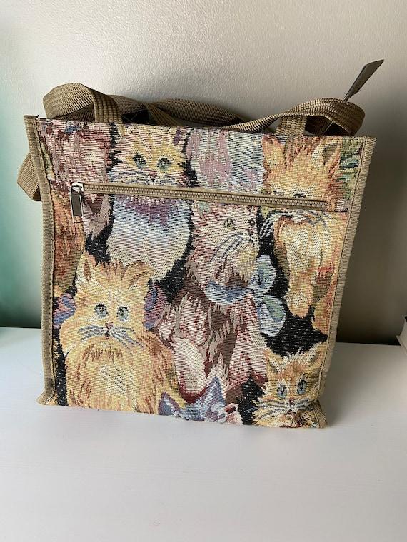 Vintage Tapestry Cat Tote Bag - image 4