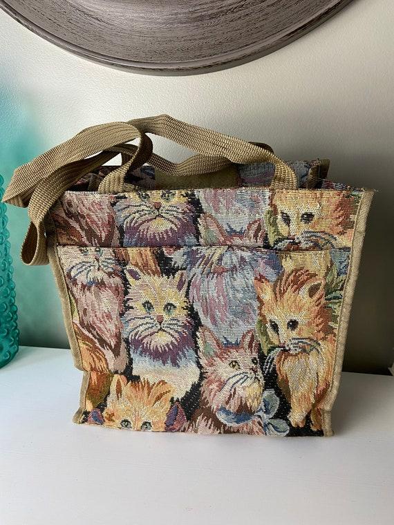 Vintage Tapestry Cat Tote Bag - image 2