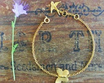 Gold Little Butterfly Bracelet, butterfly bracelet, butterfly charm bracelet, butterfly jewellery