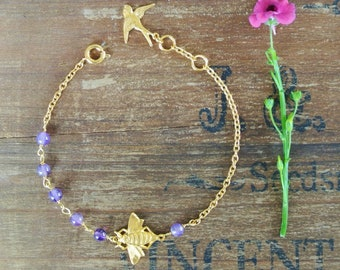 Gold Bee Charm and Amethyst Bracelet, gold bee bracelet, bee and amethyst bracelet, bridesmaid gift, vintage style jewellery, gold bee charm