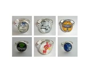 6 models 1 x 12 mm adjustable brass ring