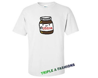 Cute nutella chocolate lovers crew neck t shirt men boys funny gift