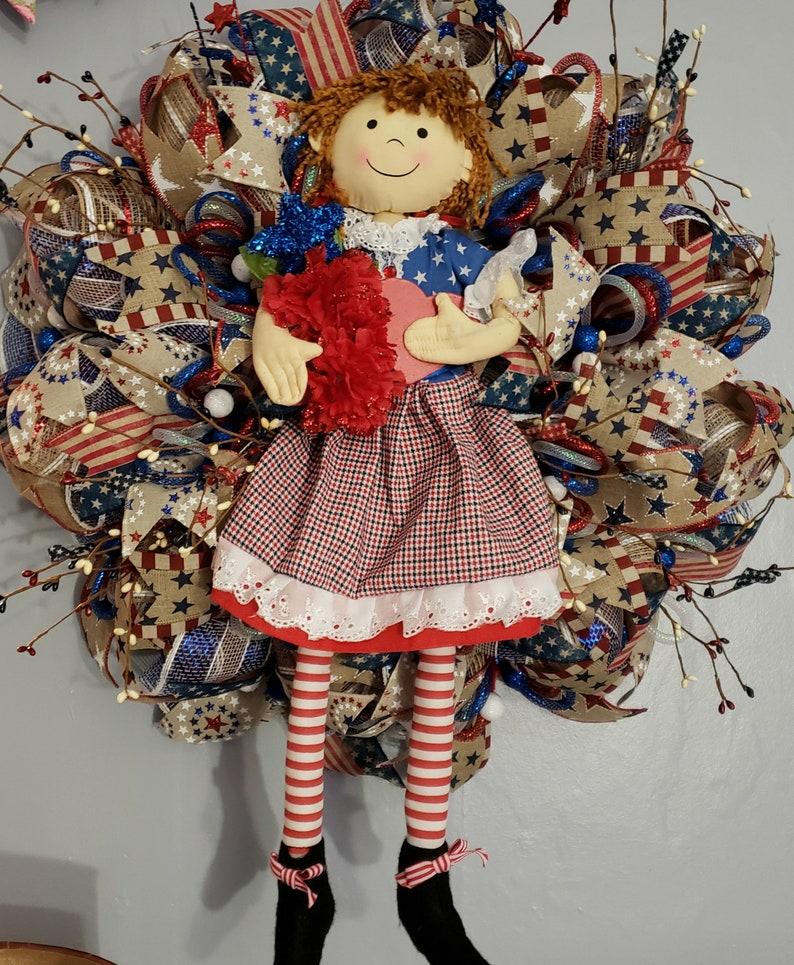 July 4th patriotic wreath,patriotic girl plush wreath,July 4th wreath,front door decor,front door wreath,red white blue wreath,girl wreath