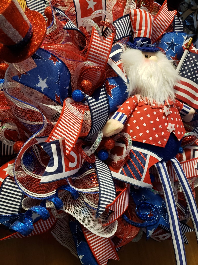 Uncle Sam July 4th wreath,patriotic wreath,summer wreath,independence day wreath,July 4th wreath,uncle Sam wreath,red white and blue wreath