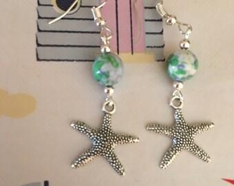 Natural Turquoise & Tibetan Silver Starfish Earrings