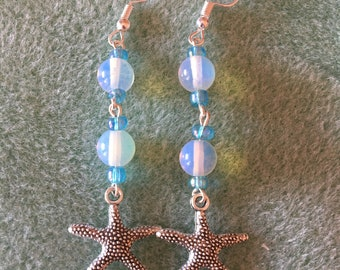Moonstone & Tibetan Silver Starfish Earrings