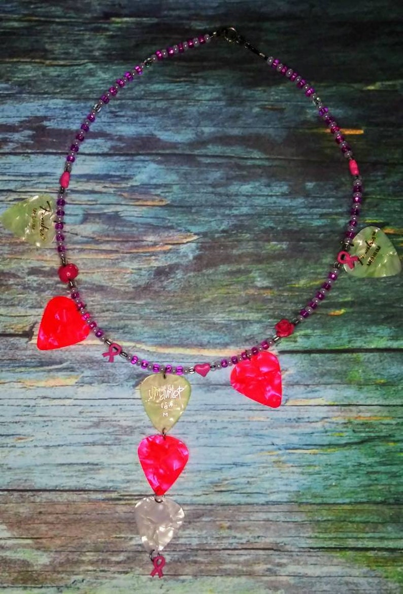 F-cancer beaded wired guitar pick necklace