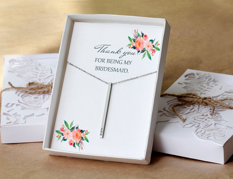 Ask Bridesmaid Gift a2 #3 Bridesmaid Necklace Bridesmaid Card Bridesmaid Proposal box Bridesmaid Proposal vertical bar Necklace