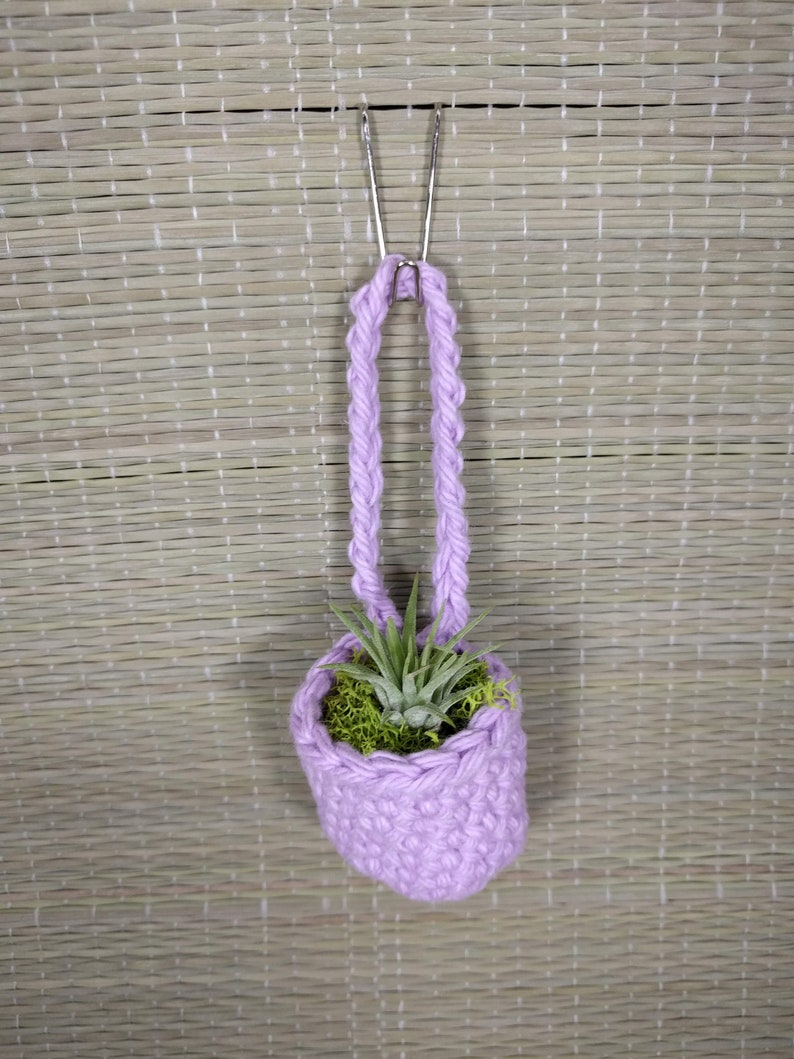 Crochet Tiny Air Plant Holder 100/% Cotton Pink and