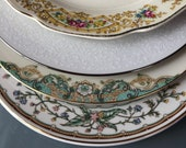 Fine china Salad Plates Mismatched China 8 quot China Dishes China Side Plates Mix and Match set of four Tea, Garden party Wedding Gift (sa113)