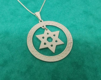 Sterling Silver circle Star Of David Necklace Magen David Circle Necklace Jewish Necklace Gift For Women Necklace Religious Circle Necklace