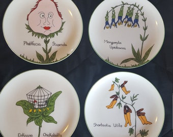 Cute. Colorful wall plate collection