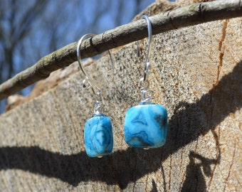 Blue Crazy Lace Agate Sterling Silver Drop Earrings