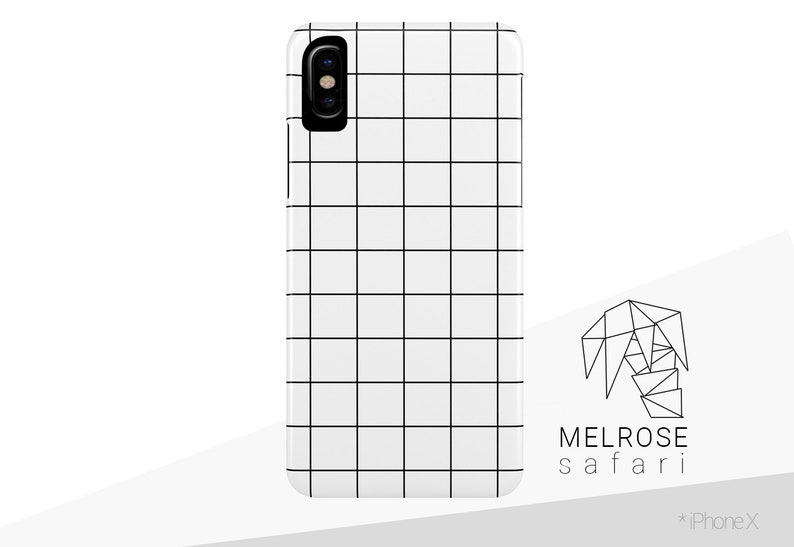 buy popular 0cee6 04ca7 White & Black Grid iPhone Case - Lines Pattern, Simple Minimalist Design,  Strong Snap Cover for iPhone X, 8, 7, 6, 6S, Plus