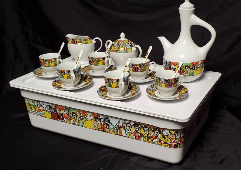 . Saba Edition EthiopianEritrean Coffee Cups Coffee TrayCoffee Table A set of 23 pieces with Saba Edition \u1228\u12a8\u1266\u1275-R\u00e9k\u00e9bot
