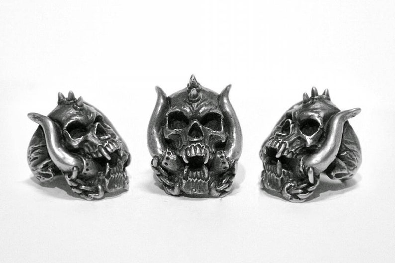 Snaggletooth Motorhead 2.0 Skull Ring Rings Pewter Original image 0