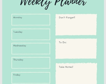 Minty Green Weekly Planner