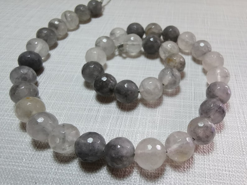 Wholesale 6810mm To Choose From Grey Cloudy Quartz Gemstone Beads A-275 DIY Jewelry 1 Full Strand Faceted Cloudy Quartz Round Beads