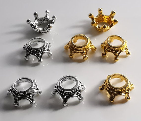 30pcs Antiqued Silver Vintage Alloy Crown Ring Hole 13mm Pendant Charms