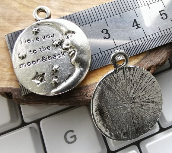 New Tibetan Silver Moon Love You To The Moon and Back Charm Zipper Pull Clip