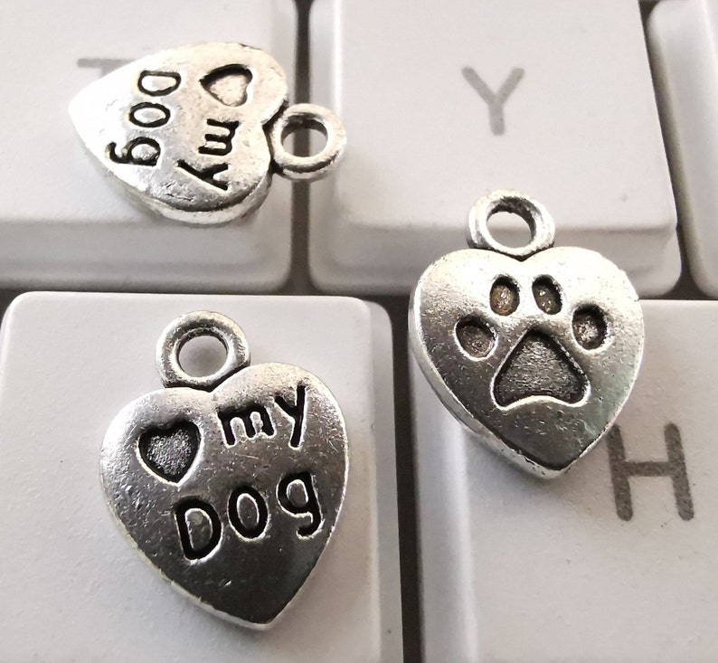 Heart-Shaped Love My Dog Paw Print Charms Wholesale 10x13mm,DIY Jewelry Supply Antique Silver Dog Tag Charms Pet Animal Charm Pendant