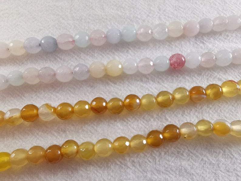 2 Full Strand Faceted Agate Round Beads DIY Bracelet Beads Faceted Gemstone Beads Stone Beads 6 mm Mixed Agate Beads Q-073
