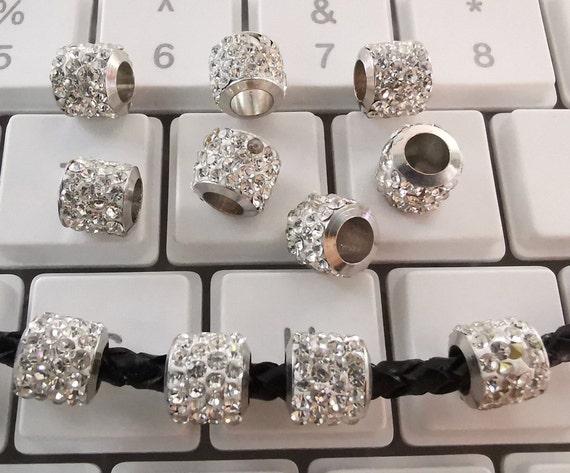 100pcs Polymer Clay Rhinestone European Bead Large Hole Barrel Cores Crystal DIY