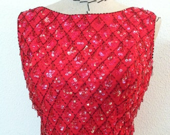 Vintage 60's women top red with sequin and beading throughout low scoop back and snap fasteners